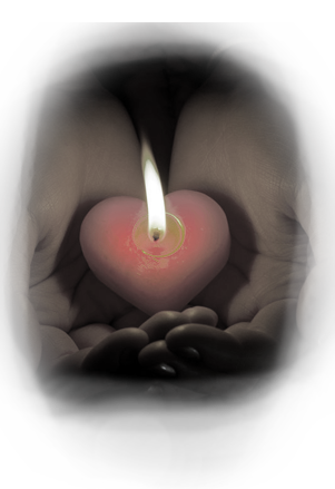 image of hands holding a candle
