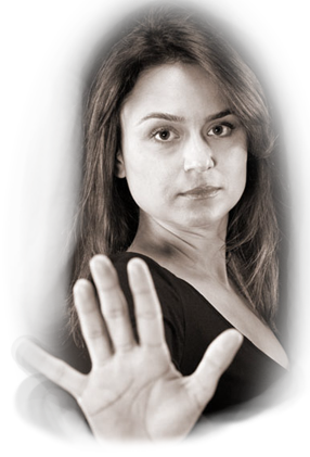 image of lady holding up her hand in a stop gesture